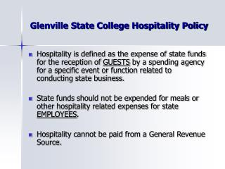 Glenville State College Hospitality Policy