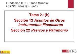 Tema 2.1(b) Sección 12  Asuntos de Otros  Instrumentos Financieros