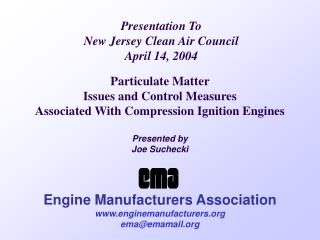 Presentation To New Jersey Clean Air Council April 14, 2004