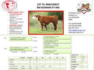 LOT 76: BMH100057 BM  BISMARK 07-066