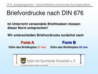 Briefvordrucke nach DIN 676
