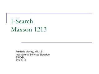 I-Search Maxson 1213