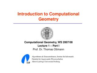 Introduction to Computational Geometry