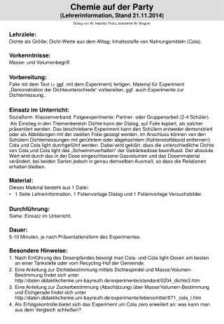 Chemie auf der Party (Lehrerinformation, Stand  21.11.2014 )