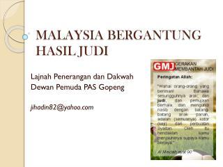 MALAYSIA BERGANTUNG HASIL JUDI