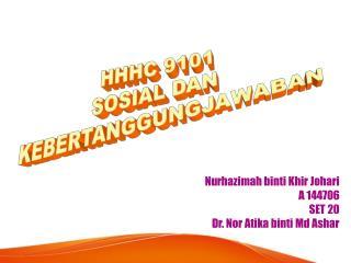 Nurhazimah binti Khir Johari A 144706 SET 20 Dr. Nor Atika binti Md Ashar