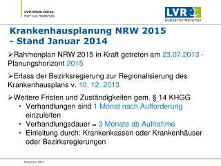 Krankenhausplanung NRW 2015 - Stand Januar 2014