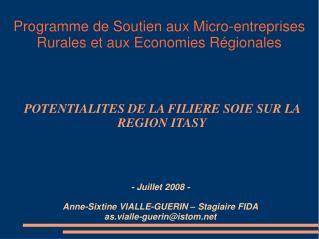 - Juillet 2008 - Anne-Sixtine VIALLE-GUERIN – Stagiaire FIDA as.vialle-guerin@istom