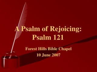 A Psalm of Rejoicing: Psalm 121