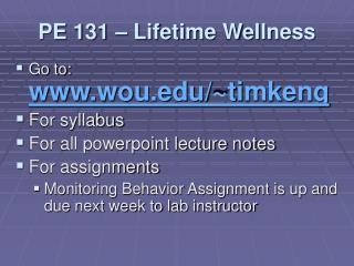 PE 131 – Lifetime Wellness