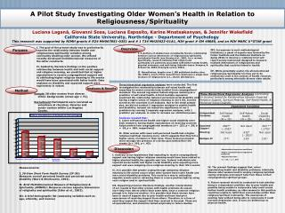 A Pilot Study Investigating Older Women's Health in Relation to Religiousness/Spirituality
