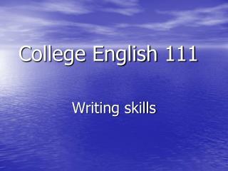 College English 111