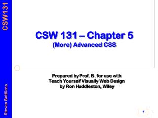 CSW 131 – Chapter 5 (More) Advanced CSS