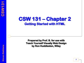 CSW 131 � Chapter 2 Getting Started with HTML