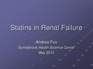 Statins in Renal Failure