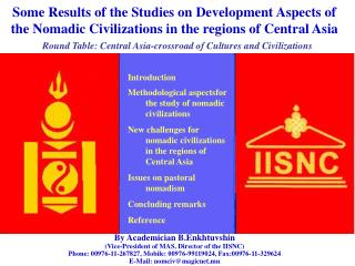 Introduction Methodological aspectsfor the study of nomadic civilizations