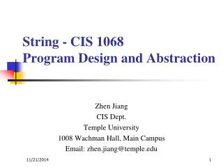 String - CIS 1068  Program Design and Abstraction