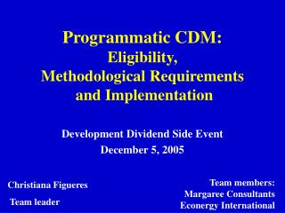 Programmatic CDM: Eligibility,  Methodological Requirements  and Implementation