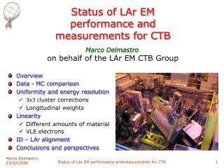 Status of LAr EM  performance and  measurements for CTB