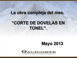 """La obra compleja del mes. """"CORTE DE DOVELAS EN TÚNEL"""". Mayo 2013"""