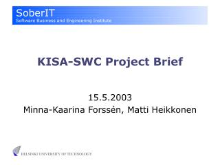 KISA-SWC Project Brief