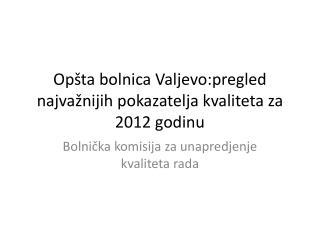 Opšta  bolnica Valjevo:p regled najva žnijih pokazatelja kvaliteta za 2012 godinu