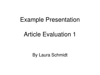 Example Presentation Article Evaluation 1