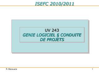 UV 243 GENIE LOGICIEL � CONDUITE DE PROJETS