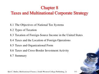 Chapter 8 Taxes and Multinational Corporate Strategy
