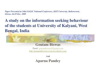 By Goutam Biswas Email:  goutambiswas8@gmail goutambiswasresearch.yolasite/ And
