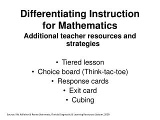 Differentiating Instruction for Mathematics