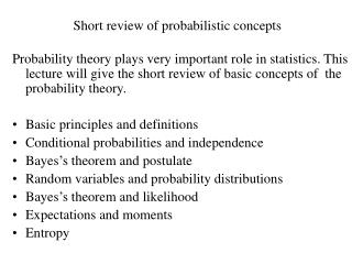 Short review of probabilistic concepts