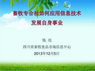畜牧专合社如何应用信息技术 发展自身事业 钱  亮 四川省畜牧食品市场信息中心 2013年12月5日