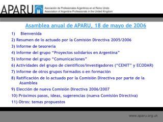 Asamblea anual de APARU, 18 de mayo de 2006