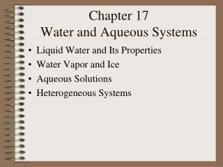 Chapter 17 Water and Aqueous Systems