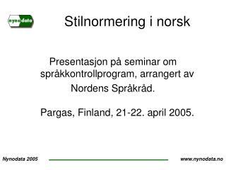 Stilnormering i norsk