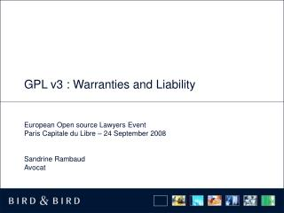 GPL v3 : Warranties and Liability