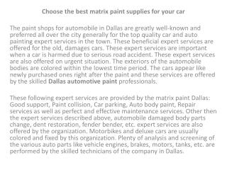 matrix autobody supplies and paint