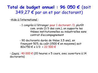 Total de budget annuel:  96 050 €  (soit 349,27 €  par  an et par doctorant )