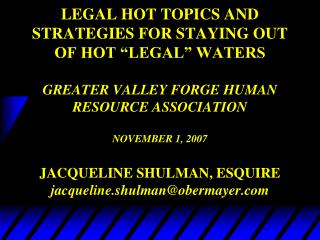 HOT LEGAL TOPICS