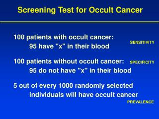 Screening Test for Occult Cancer
