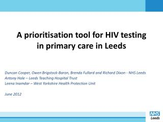 A prioritisation tool for HIV testing in primary care in Leeds