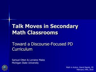 Talk Moves in Secondary Math Classrooms