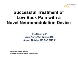 Successful Treatment of  Low Back Pain with a  Novel Neuromodulation Device