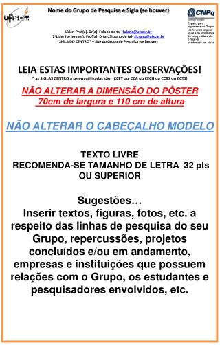 L�der: Prof(a). Dr(a). Fulano de tal-  fulano@ufscar.br