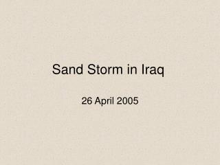 Sand Storm in Iraq