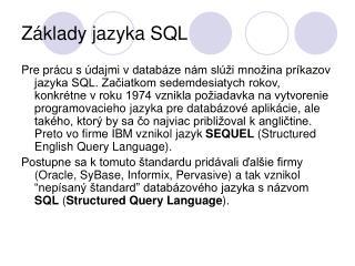 Základy jazyka SQL