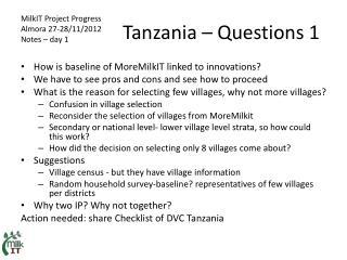 Tanzania � Questions 1