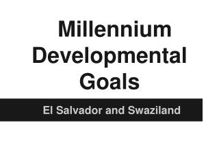 Millennium Developmental Goals