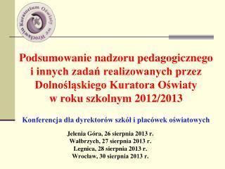 Jelenia Góra, 26 sierpnia 2013 r. Wałbrzych, 27 sierpnia 2013 r. Legnica, 28 sierpnia 2013 r.